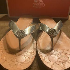 Coach Sara Mirror Metallic silver sandals
